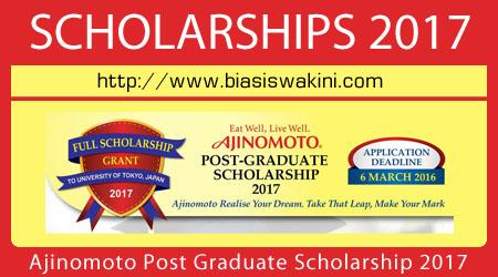Ajinomoto Post Graduate Scholarship 2017