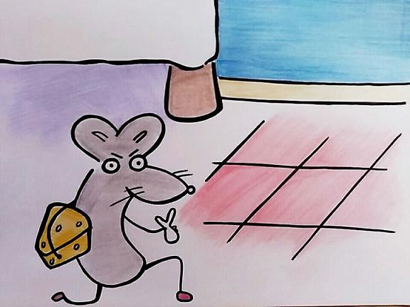 dibujo en el que aparece al Ratoncito Pérez huyendo de un dormitorio con el queso y el diente