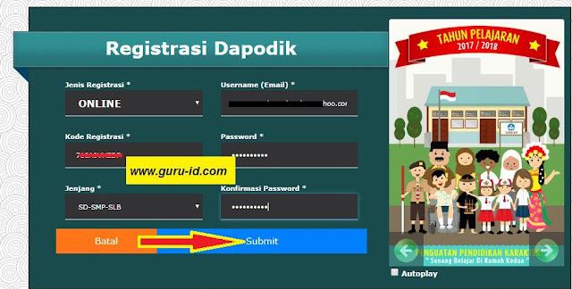 gambar cara registrasi online dapodik versi 2018