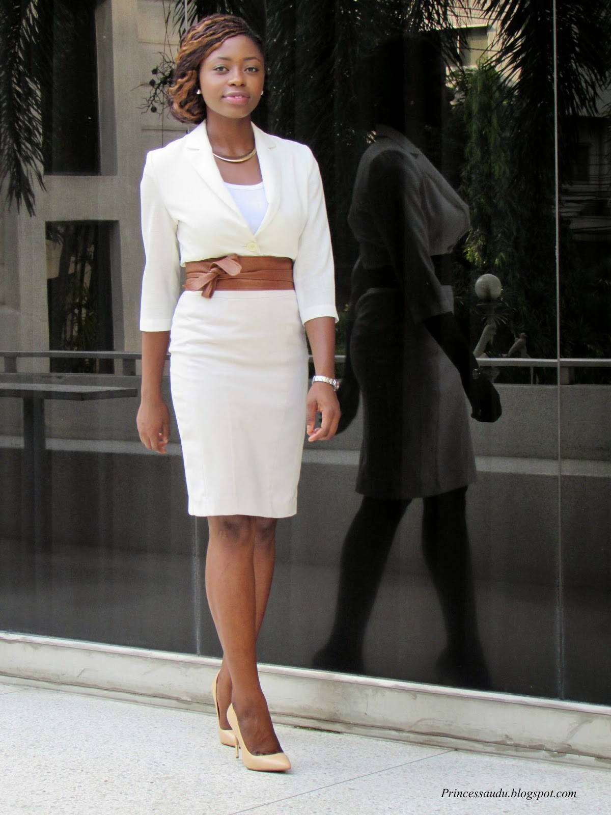 beige skirt, blazer upgrade, statement obi belt