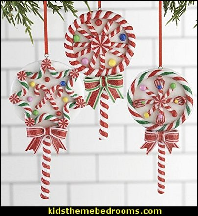 Candy Lollipop Ornament Set   candy Christmas theme decorating - candy themed christmas decorations - christmas candyland decorations -  candy ornaments -  candy shaped holiday ornaments - candy themed Christmas decor -   lollipop candy swirls Throw Pillows - candy stripe Chritmas decor