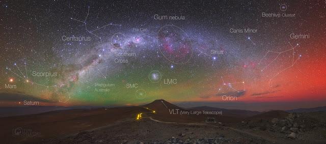 Chú thích các thiên thể có trong hình ảnh dải Ngân Hà cùng ánh sáng khí quyển phương nam. Hình ảnh: Yuri Beletsky (Carnegie Las Campanas Observatory, TWAN).