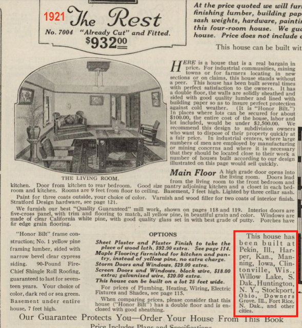 1921 catalog writeup Sears Rest showing Built at locations