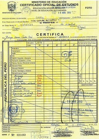 Resultado de imagen para certificados de secundaria  PERU