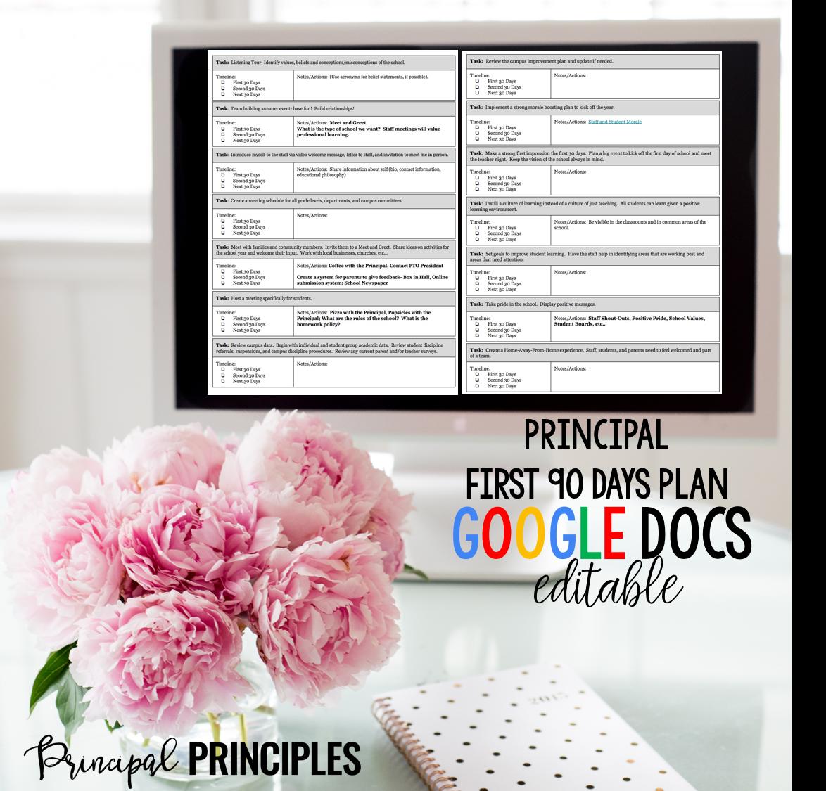 Principal 90 Day Plan- Digital Resource - Principal Principles