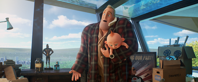 Mr. Incredible with Jack-Jack in Incredibles 2