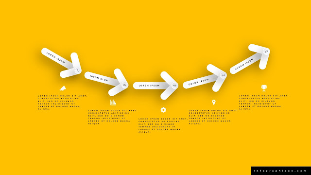5 Step Clean Arrow Infographics for PowerPoint Templates in Yellow Background
