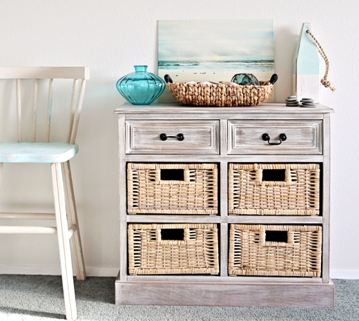 Coastal Style Chest with 4 Basket Drawers