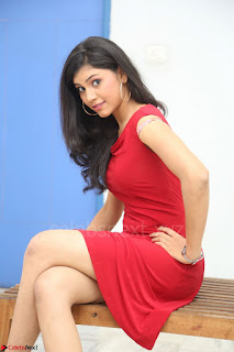 Mounika Telugu Actress in Red Sleeveless Dress Black Boots Spicy Pics 011.JPG