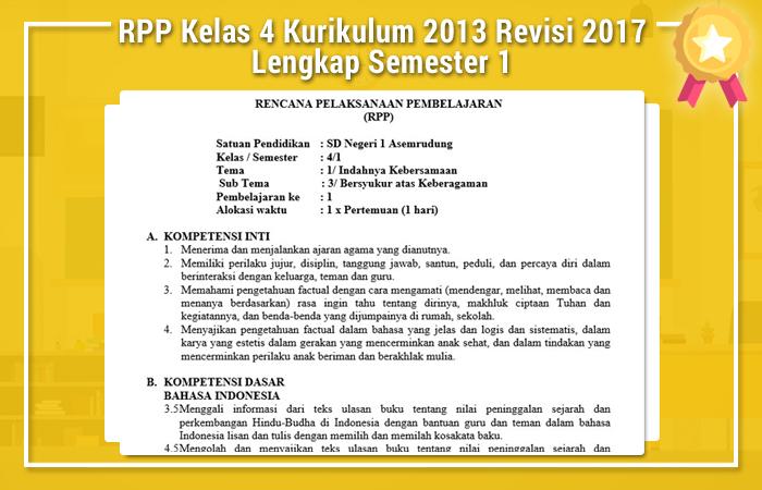 RPP Kelas 4 Kurikulum 2013 Revisi 2017 Lengkap Semester 1