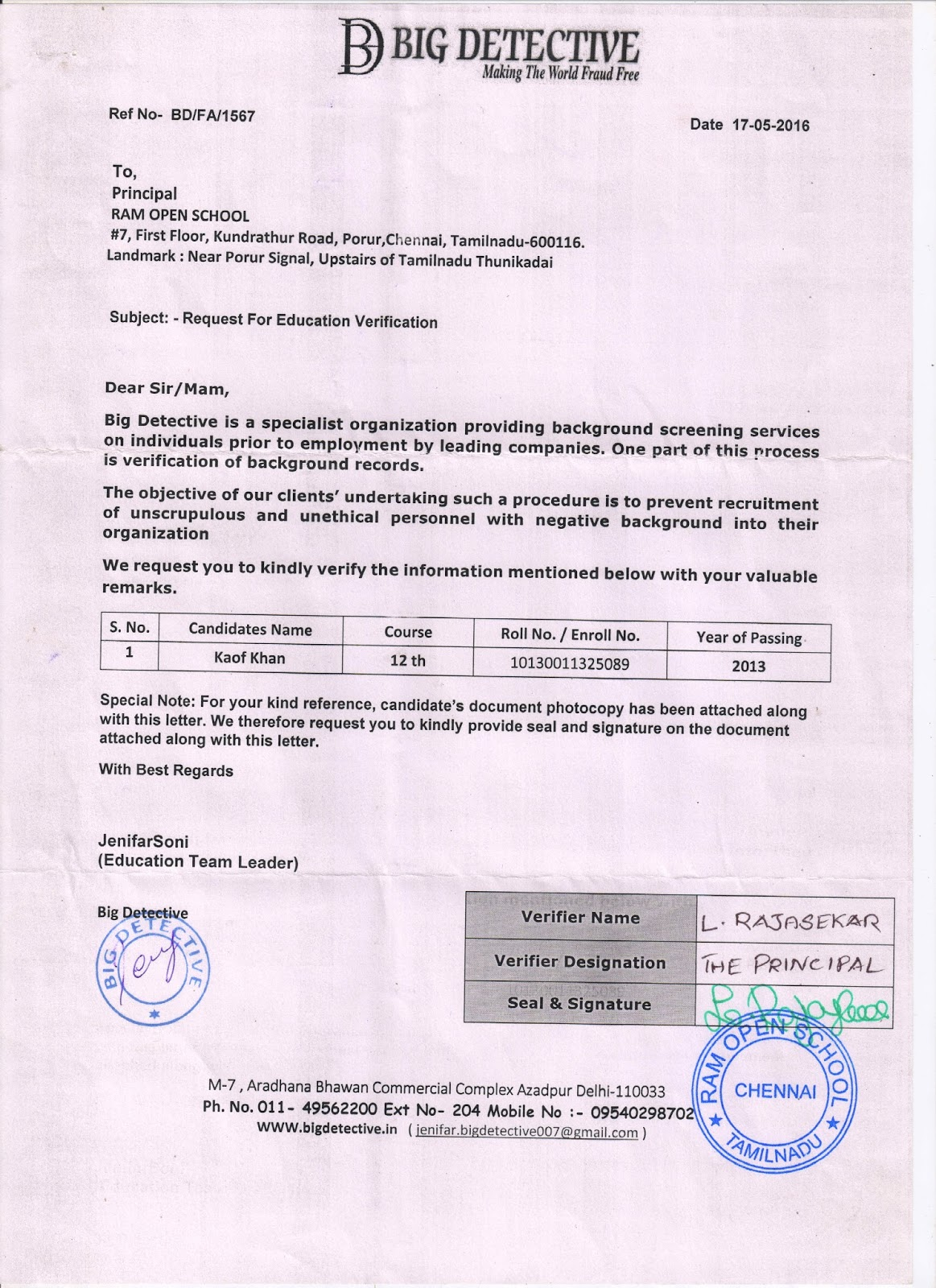 RURAL INSTITUTE OF OPEN SCHOOLING DELHI September 2015