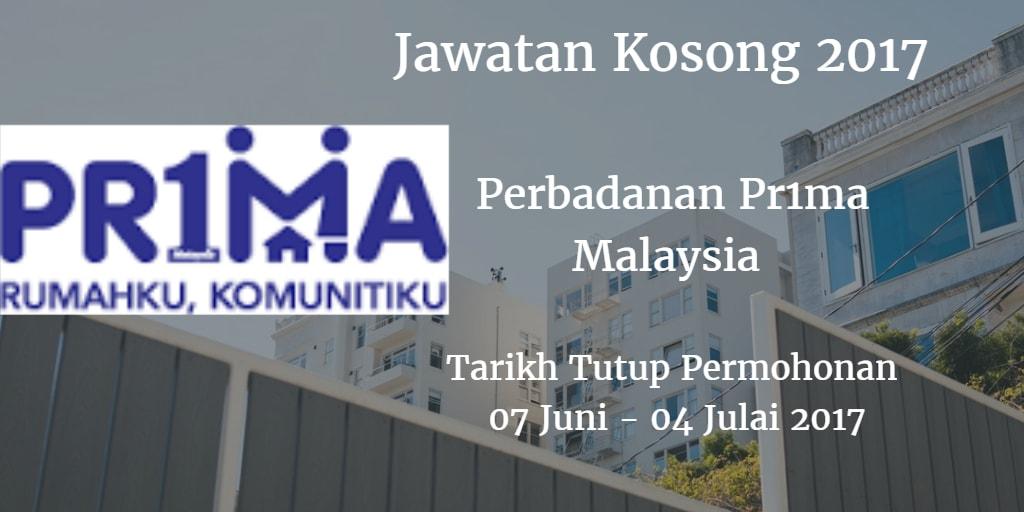 Jawatan Kosong Perbadanan Pr1ma Malaysia 07 Juni - 04 Julai 2017