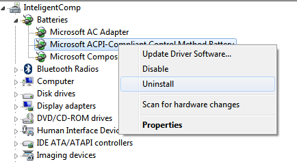 Screenshot of Device manager uninstalling battery: IntelligentComputing