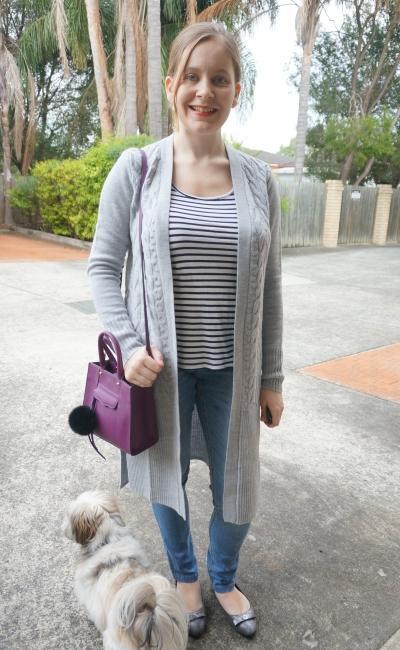 Away From Blue | Jeanswest Alice Australian wool cardi striped tank skinny jeans SAHM style