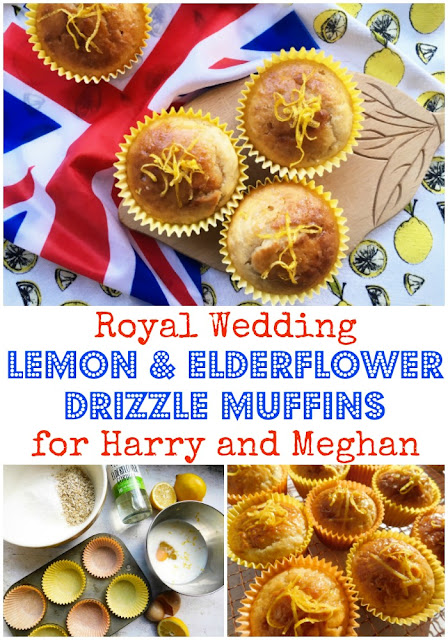 Royal Wedding Lemon and Elderflower Drizzle Muffins for Harry and Meghan www.foodiequine.co.uk Make your own muffin versions of Harry and Meghan's wedding cake. Elderflower and lemon are THE top baking flavours of 2018 as the Royal couple have chosen them for their wedding cake. This quick and easy muffin recipe incorporates lemon and elderflower in both the sponge and a sugary drizzle.