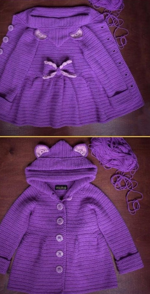 Crochet Baby Ruffled Cardigan Coat - Free Pattern