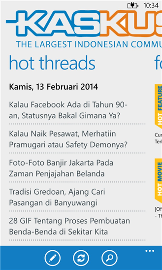 Screenshot Kaskus For Windows Phone