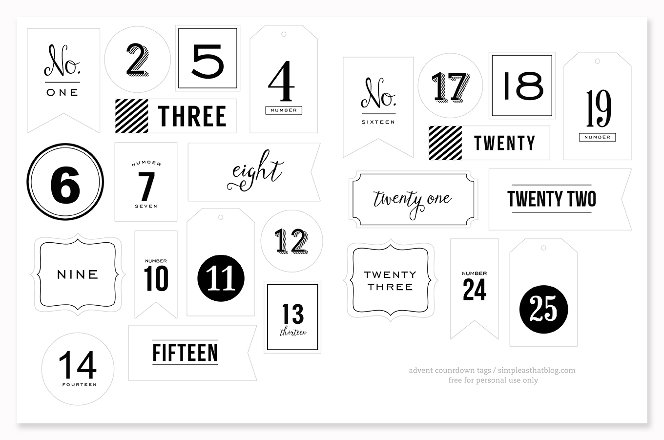 Advent Number Tags