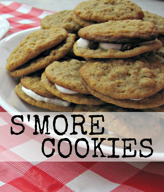 simple smore s'more cookies marshmallow chocolate chips graham cracker cookies crumbs summertime dessert treat