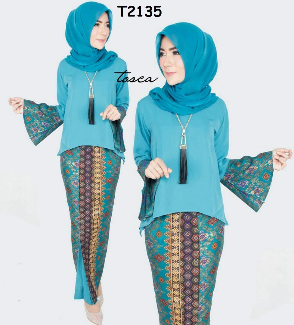 Baju Batik Wanita Setelan Rok Dan Blus Wolfis Lengan Lonceng T2135