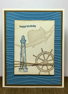This masculine card uses Stampin' Up!'s From Land to Sea and Teeny Tiny Wishes stamp sets.  We also used the Seaside embossing folder and Linen Thread.  #stampinup #stamptherapist www.stampwithjennifer.blogspot.com
