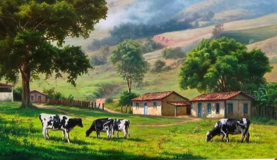 Im genes arte pinturas frescos paisajes de campos cuadros con vacas - Cuadros de vacas ...