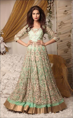 Ethnic and graceful Indian wedding gown with sleeves.