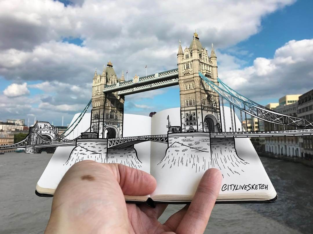 02-Tower-Bridge-Pietro-Cataudella-3D-Architectural-Urban-Moleskine-Sketches-www-designstack-co