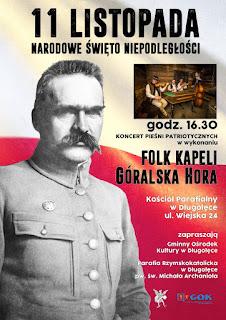 Plakat na 11 listopada z Józefem Piłsudskim