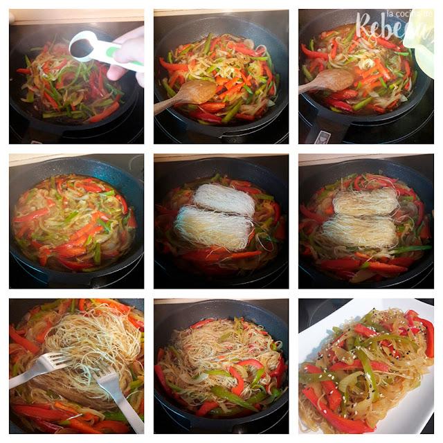 Receta de glass noodles con verduras y sésamo: terminación del plato