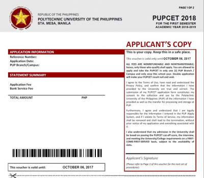 PUPCET For A Y 2018 2019 Schedule Requirements Online