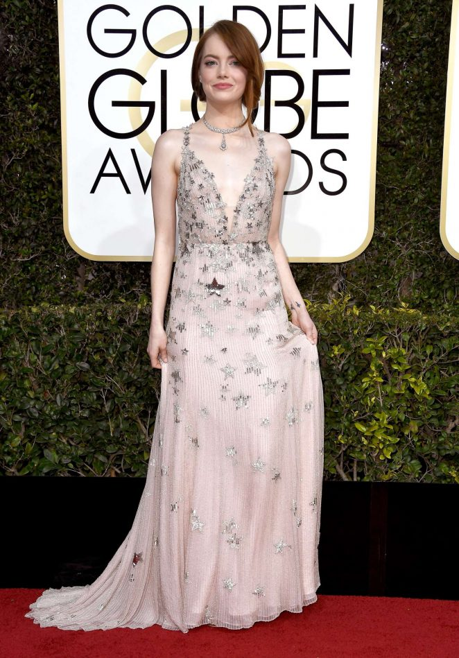 Emma Stone dazzles in embellished nude gown at the 2017 Golden Globes