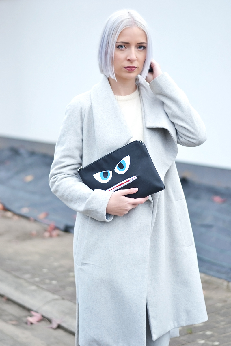 Mango grey wool coat, wool jumper zara, white, grey jeans mango, grey slip on, wool, celine inspired, monster clutch, esprit, white hair, grey hair, monochrome, grey outfit