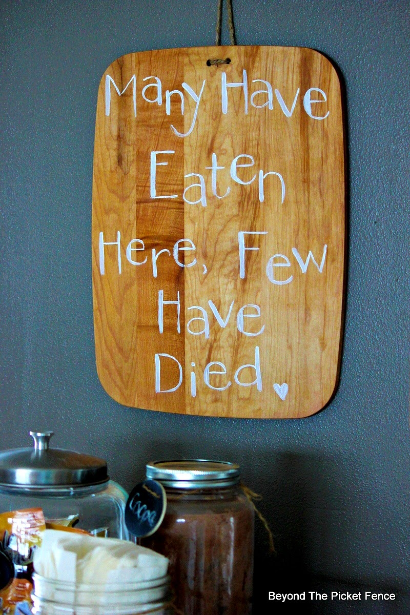 Cutting Board With a Sense of Humor http://bec4-beyondthepicketfence.blogspot.com/2015/01/simple-cutting-board-with-sense-of-humor.html