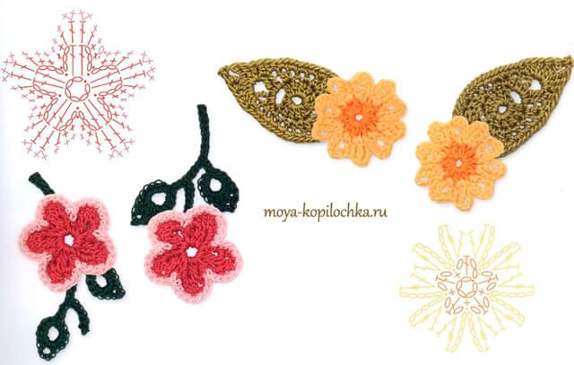 Más Patrones De Flores Y Hojas Para Fieltro: 60 Patrones De Flores, Hojas Y Mariposas Crochet