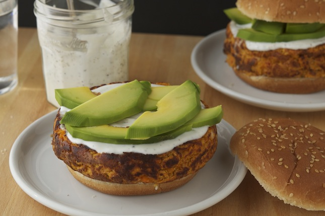Spicy Sweet Potato Burgers with Lemony Greek Yogurt and Avocado