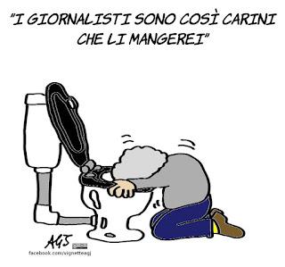 Grillo, stampa, giornalisti, giornali, m5s, satira, vignetta