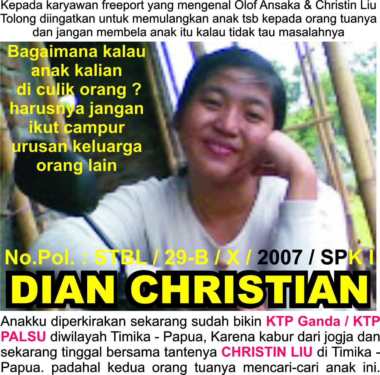 Anak hilang, Penculikan, E-KTP Ganda / ASPAL, Istri kabur