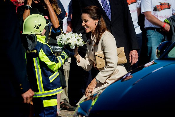 Sternfahrt 2017. Princess Marie wore a Miu Miu Belted Wool Crepe Coat at opening ceremony in Sonderborg