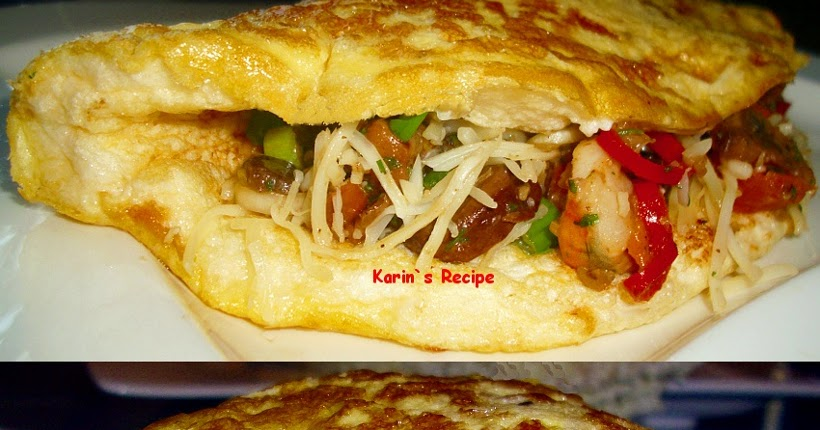 Karin's Recipe: Puff Omelet Isi Udang & Jamur (Puffy