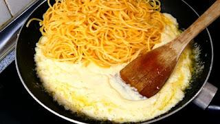 como hacer espaguetis con crema de leche,espaguetis con queso,espaguetis blanco