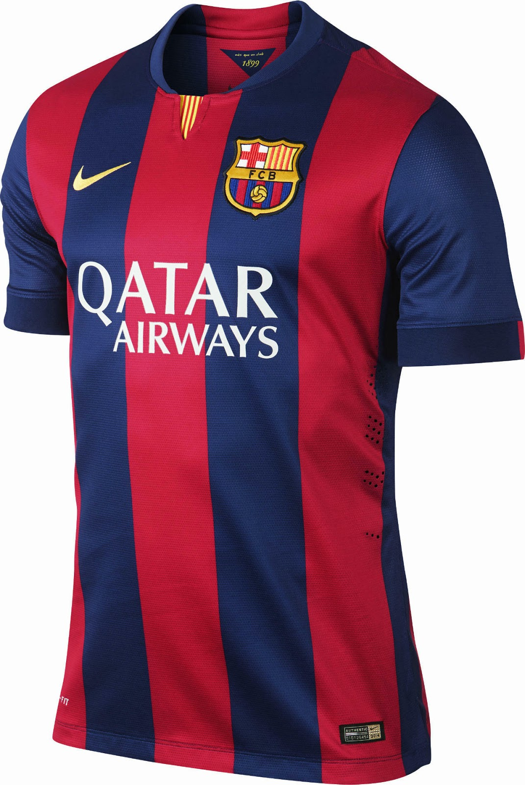 228e3543d94 The new FC Barcelona 2014-15 comes with less vertical stripes and features  blue sleeves. The striking detail of the new Barca 2014-2015 kit is the blue  ...