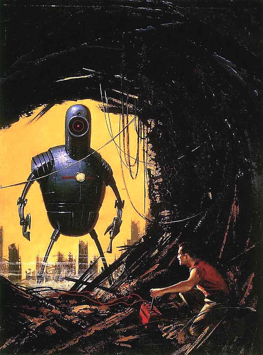 an Ed Valigursky book illustration of a giant robot hunting a man
