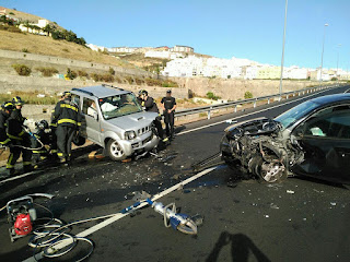 vídeo accidente frontal GC-21 Las Palmas de Gran Canaria