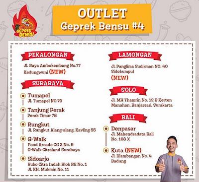 Outlet Ayam Geprek Bensu di Surabaya, Pekalongan, Lamongan, Solo, dan Bali