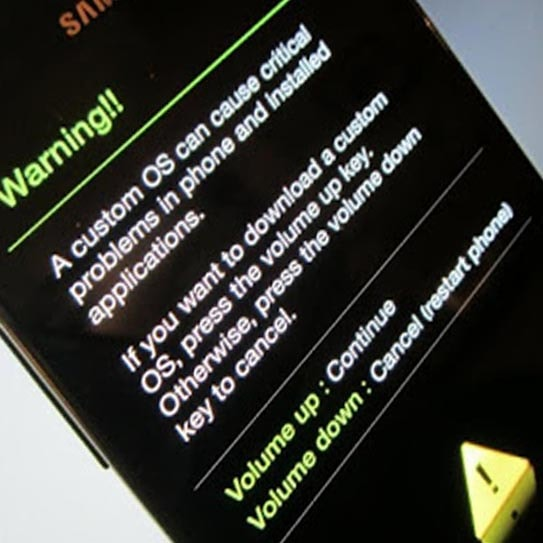 See a warning massage on your Samsung Galaxy J5 device screen