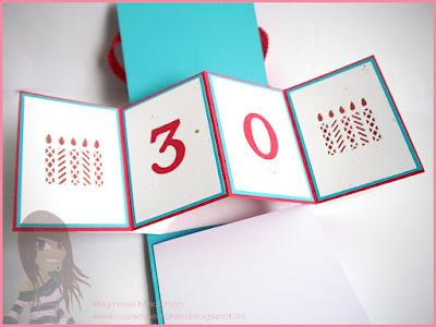 Stampin' Up! rosa Mädchen Kulmbach: Pop up panel card zum 30. Geburtstag mit Thinlits Fensterschachtel, Wink of Stella, Bigz Druckbuchstaben und Cuttlebug Party