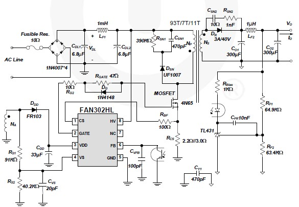 Fan302hl Bassed 5 Volt Switching Power Supply Circuit