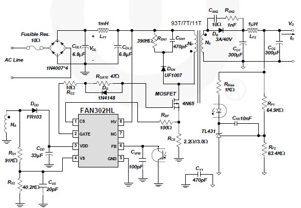 FAN302HL bassed 5-volt switching power supply circuit