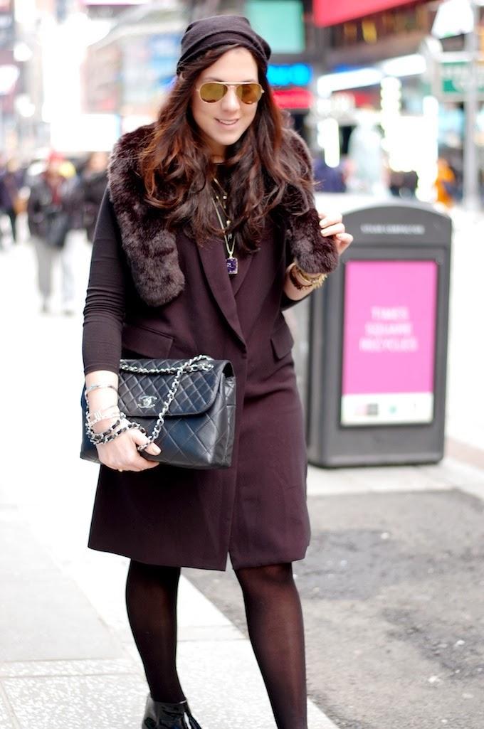 New York Fashion Week outfit idea Rachel Comey dress faux fur